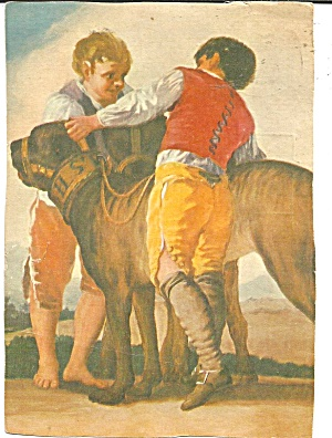 Two Boys And Two Dogs From Painting Cs11255