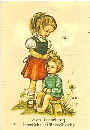 German Birthday Post Card Young Girls cs11320 (Image1)