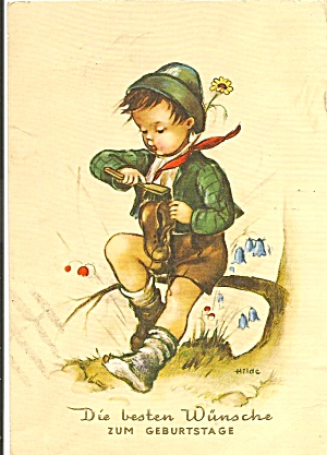 German Birthday Post Card Young Boy cs11321 (Image1)