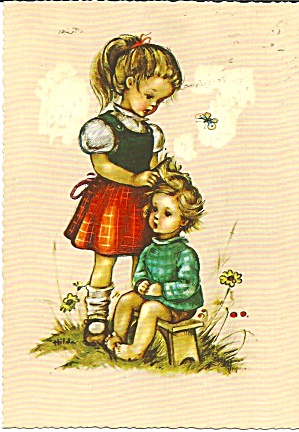 German Birthday Post Card Young Girls Unposted Cs11322