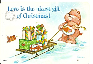 Christmas Postcard Teddy Bear Pulling Sled Cs11341
