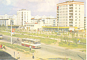 Foreign Street Scene Buses Postcard