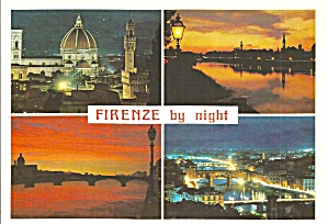 Florence Italy by Night postcard cs11424 (Image1)