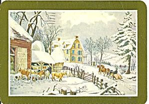 Christmas Postcard Farm Scene Cs11476
