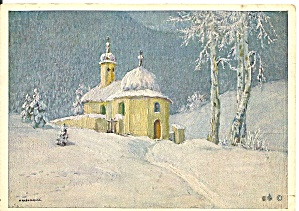 German Christmas Postcard Church Scene Cs11482