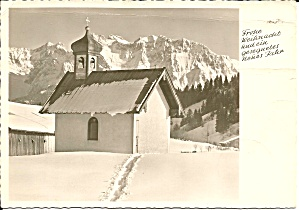 German Christmas Postcard Church Scene Cs11491