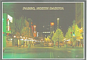Fargo Nd Street At Night Postcard Cs11620