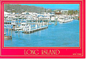 Marina at Long Island NY  Postcard cs1348 (Image1)