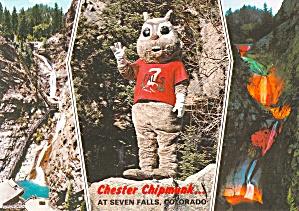 Colorado Springs CO Seven Falls Chester The Chipmunk Postcard CS14076 (Image1)