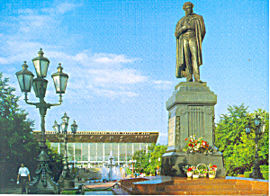 Monument of A.S.Pusknin, Moscow Russia Postcard (Image1)