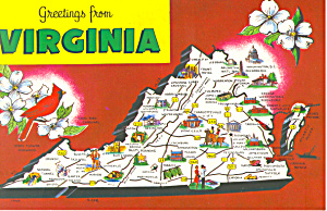 State Map Of Virginia Postcard Cs1519