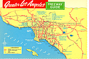 Greater Los Angeles CA  Freeway Map Guide Postcard cs1541 (Image1)