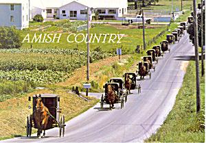 Amish Funeral Procession Postcard cs1564 (Image1)
