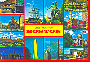 Views Of Boston Ma Postcard Cs1622