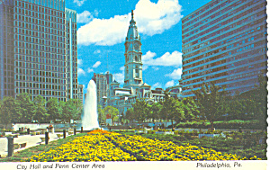 Philadelphia Pa City Hall Penn Center Postcard Cs1673