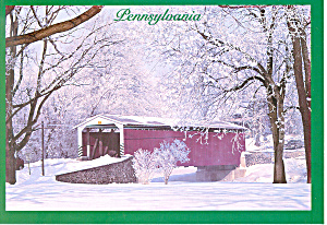 A Wintery Covered Bridge in PA Postcard (Image1)