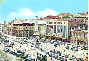 Lisbon Portugal Restaurant Square Postcard cs1896  Old Cars (Image1)
