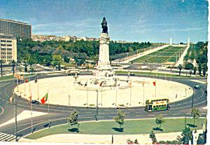 Lisbon Portugal Praga Marques de Pombal Postcard cs1898 (Image1)