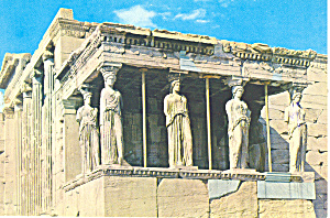 Athens Greece Portico Of Caryatides Postcard Cs1934