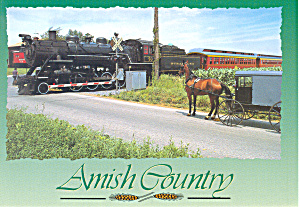 Amish Buggy Waiting On Strasburg Pa Steam Train Pcard Cs2202