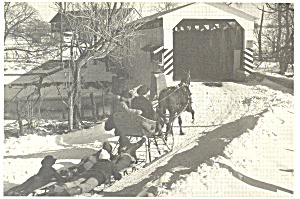Amish Boys On Sleigh Ride At Herr S Mill Bridge Pcard Cs2264