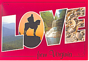 Love From Virginia Big Letter Postcard Cs2320