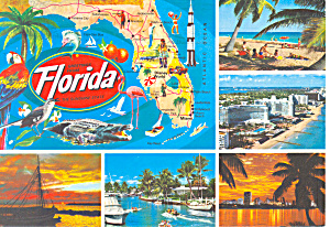 Map of Florida with Five Views Postcard (Image1)