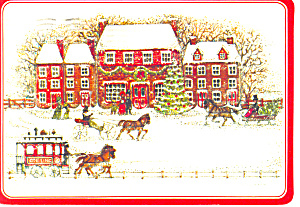 Old time horse sleighs Christmas Postcard (Image1)