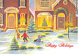 Children with Sled Christmas Postcard cs2473 (Image1)