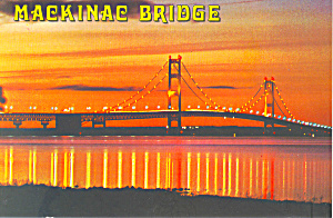 Sunset at Mackinac Bridge,MI Postcard (Image1)