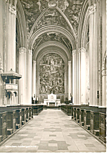 Interior Ludwigskirche Munchen Germany Rppc Cs2716