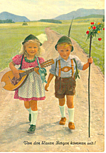Young Girl and Boy in Lederhosen Postcard cs2807 (Image1)
