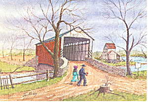 Covered Bridge Watercolor by Jay McVey postcard cs2825 (Image1)