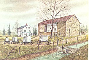 Amish Farm Watercolor by Jay McVey Postcard cs2826 (Image1)