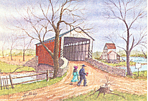 Covered Bridge Watercolor by Jay McVey Postcard cs2829 (Image1)
