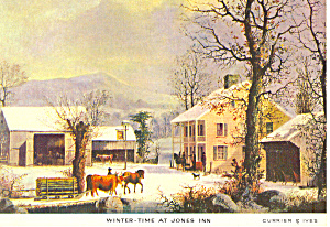 Winter Time Jones Inn ,Currier & Ives Postcard (Image1)