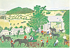 Grandma Moses Wagon Repair Shop Postcard cs2867 (Image1)