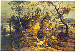 Landscape With A Wagon Peter Paul Rubens Postcard Cs2958