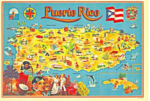 Map of Puerto Rico Postcard cs3177 (Image1)