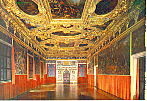 Venice Italy Ducal Palace The Voting Room Postcard Cs3272