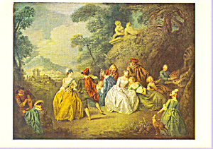 Scene galante dans un parc Jean Baptiste Pater Postcard cs3368 (Image1)