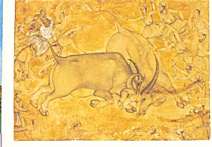 Buffalos in Combat Miskin Postcard cs3540 (Image1)