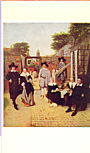 Dutch Family in the Courtyard of Their House Postcard cs3955 (Image1)