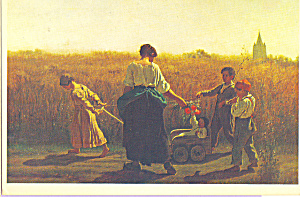 The Baby Carriage Eastman Johnson Postcard cs3996 (Image1)