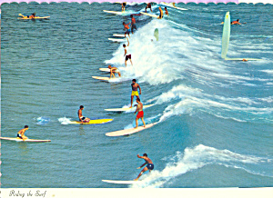 Riding The Surf Hawaii Postcard cs4546 (Image1)