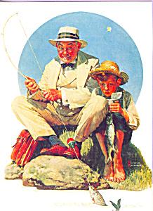 Fishing  Norman Rockwell Postcard cs4687 (Image1)