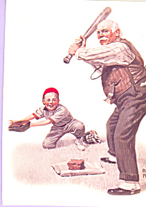 Gramps at the Plate Norman Rockwell Postcard cs4688 (Image1)