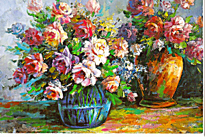 Flowers in Vases Still Life Postcard cs4902 (Image1)
