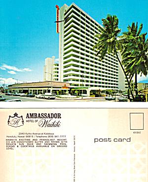 Ambassador Hotel of Waikiki HI Postcard cs5495 (Image1)