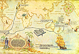 Map of the Voyage of the Bounty Postcard cs5660 (Image1)